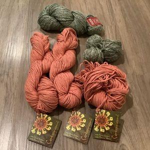 Natural Fibre Yarn Bundle of Peach and Grey Cotton/Wool/Linen Blends 300g+